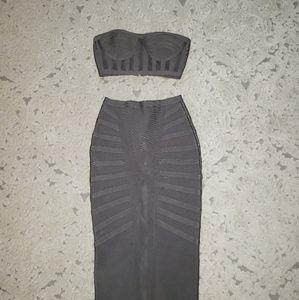 NWOT Gray bandage top and midi skirt set,